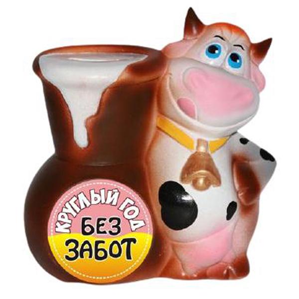 Копилка Корова с крынкой «Без забот»