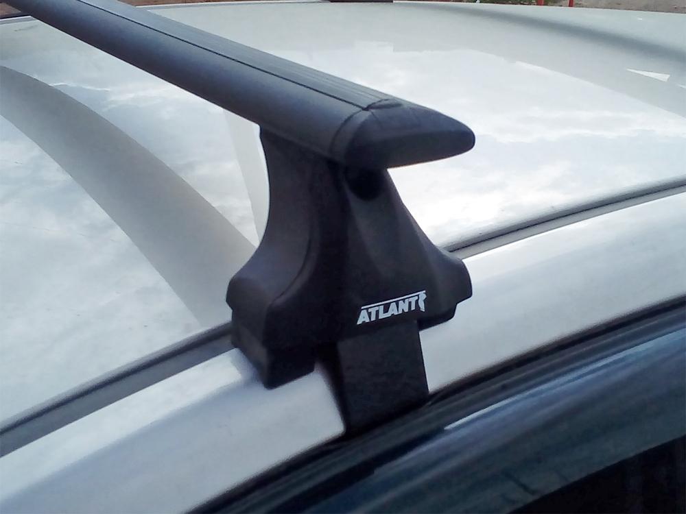 Багажник на крышу Mitsubishi L200 2015-..., Атлант, крыловидные аэродуги (черный цвет)
