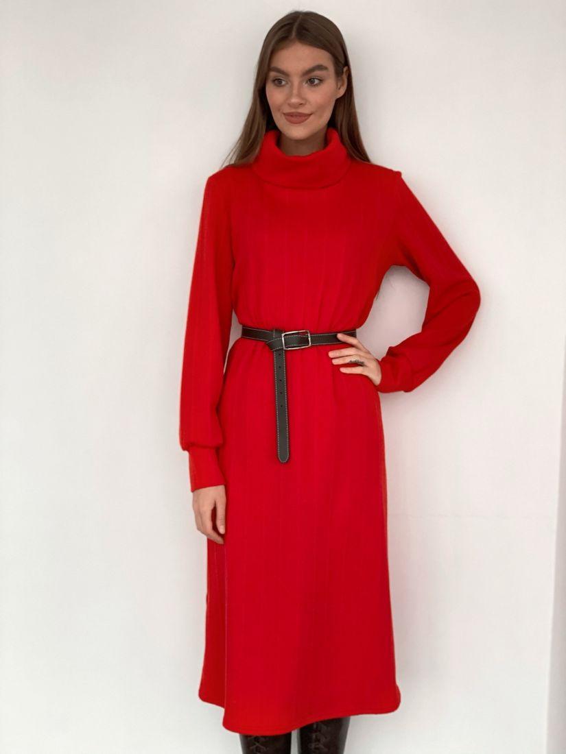 s3309 Платье-свитер с объёмными рукавами огненно-красное
