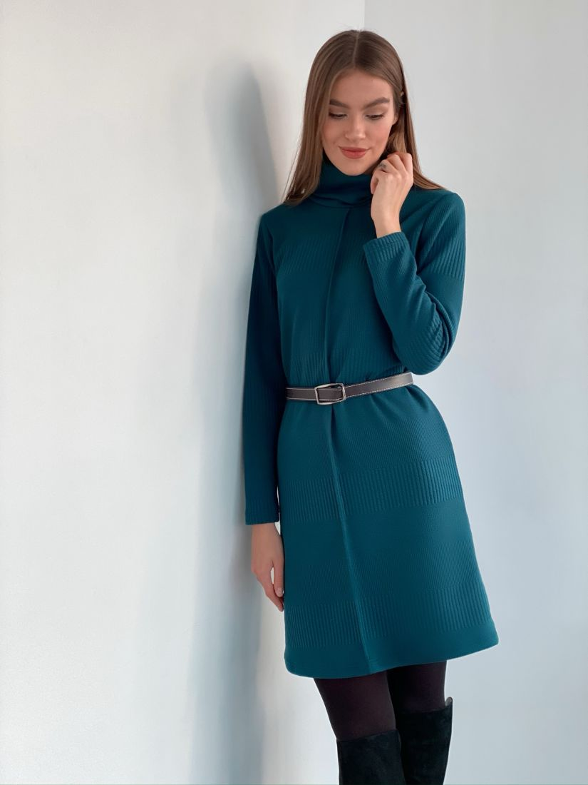 s3318 Платье-свитер с планкой в цвете морской волны