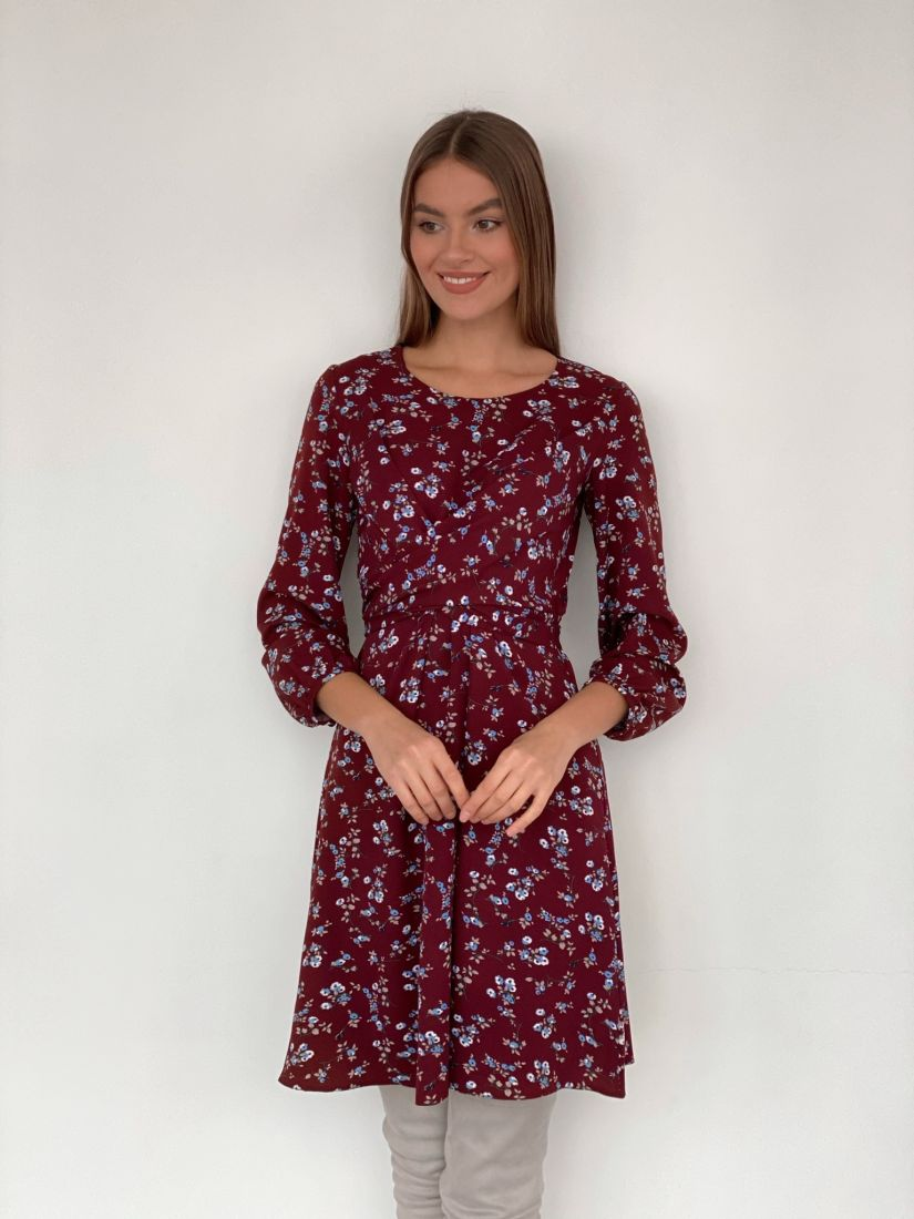 s3321 Платье с перекрутами бордовое с принтом