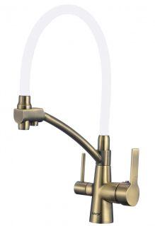 Смеситель для мойки бронзовый под фильтр с гибким изливом Savol S-L1805C-02