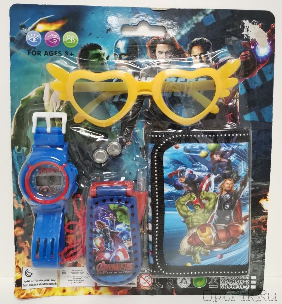 Набор Часы + кошелёк + телефон + очки (Мстители)