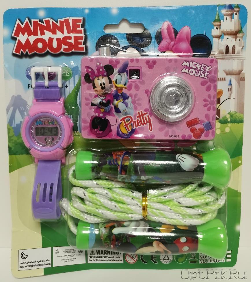 Набор Часы + фотоаппарат + скакалка (Минни Маус)