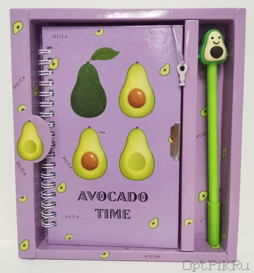 Блокнот с авокадо на замочке + ручка (в ассортименте)