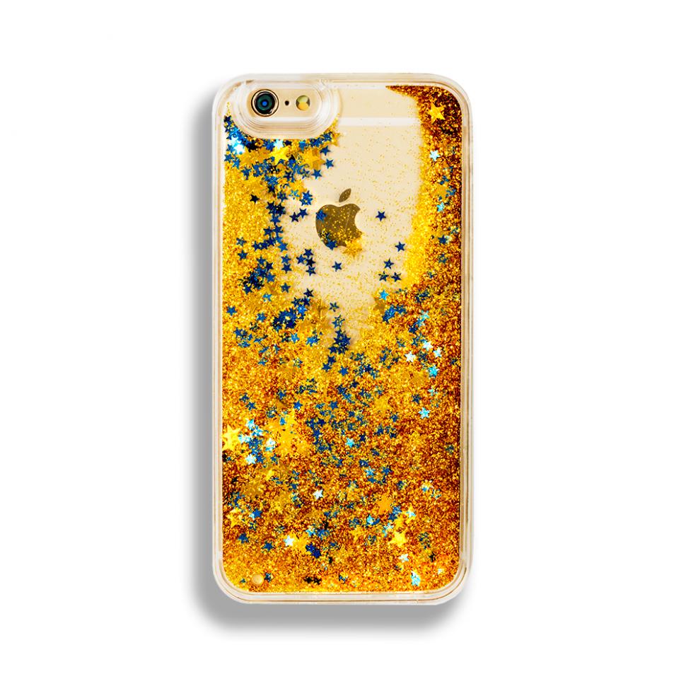 Чехол с блестками для iphone 5/5s (золотой)