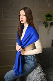 тёплый шарф с кистями 100% шерсть мериноса,  расцветка  Яркий Синий 100% Ultrafine Merino Wool Classic BRIGHT BLUE  , средняя плотность 5
