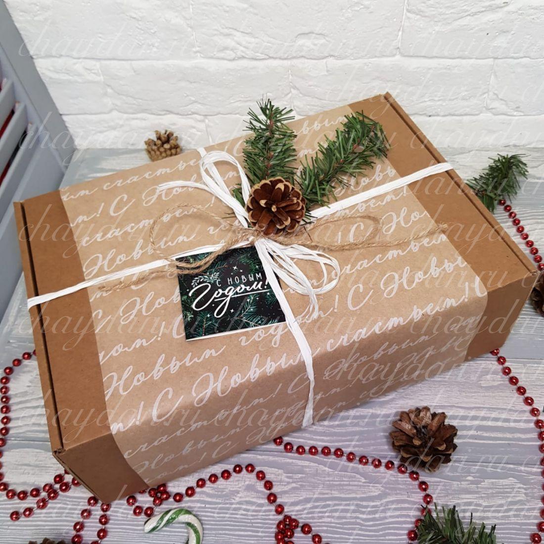 """Новогодний подарок с чаем, сладостями и полотенцем """"С Новым годом, страна!"""""""