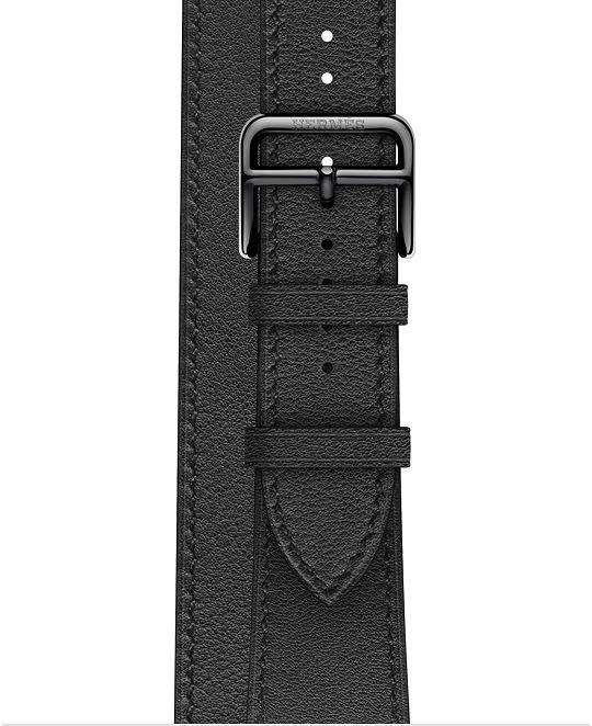 Ремешок Apple Watch Hermès Noir Leather Swift Double Tour из кожи (для корпуса 40 мм)