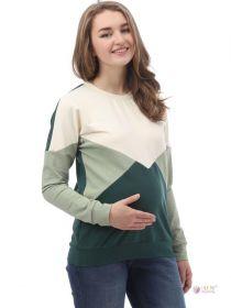 Джемпер для беременных и кормящих 2-НМ 43014 кремовый/оливковый/зеленый
