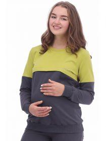 Джемпер для беременных и кормящих 2-НМ 50114 салатовый/антрацитовый