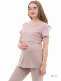 Блузка для беременных и кормящих 1-НМ 36202 бежевая