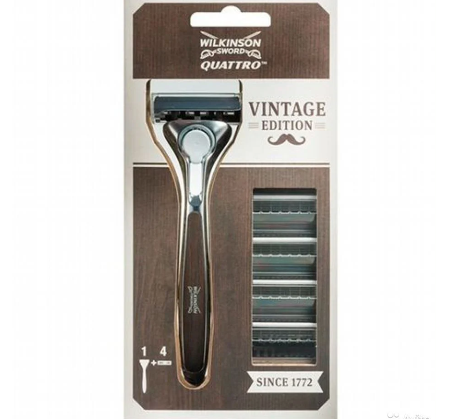 Schick / Wilkinson Sword кассеты Quattro Titanium Vintage Edition 4 шт. + станок, промо-набор