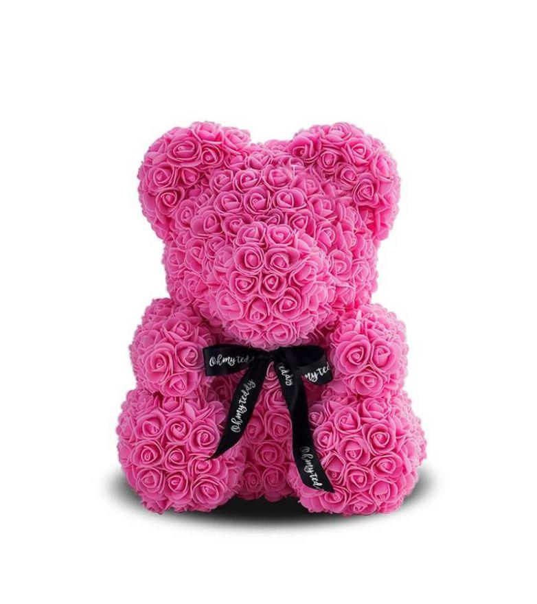 Мишка из роз с бантиком 3D 40 см розовый