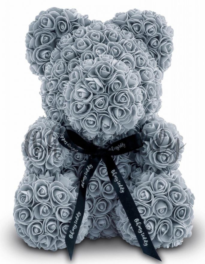 Мишка из роз с бантиком 3D 40 см серый