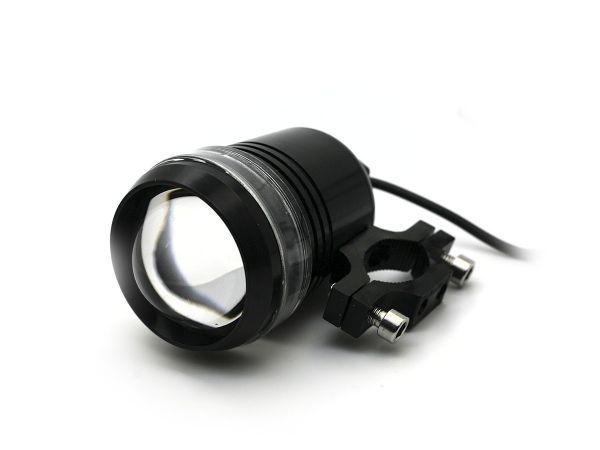 Круглая светодиодная фара для мотоцикла U2 с креплением на трубу (черная)