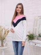 Джемпер для беременных и кормящих 2-НМ 57314 серый меланж/синий/розовый