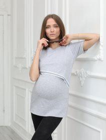 Блузка для беременных 1-НМ 55802 серый меланж