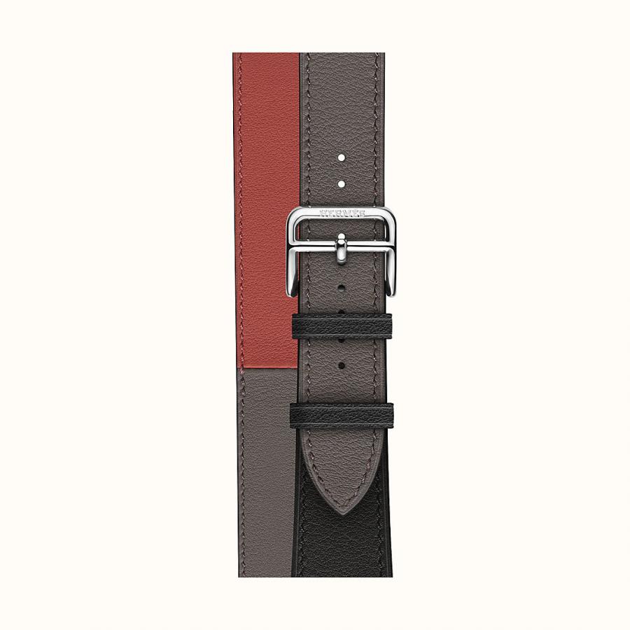 Ремешок Apple Watch Hermès Tin/Brick/Black Leather Double Tour из кожи (для корпуса 40 мм)