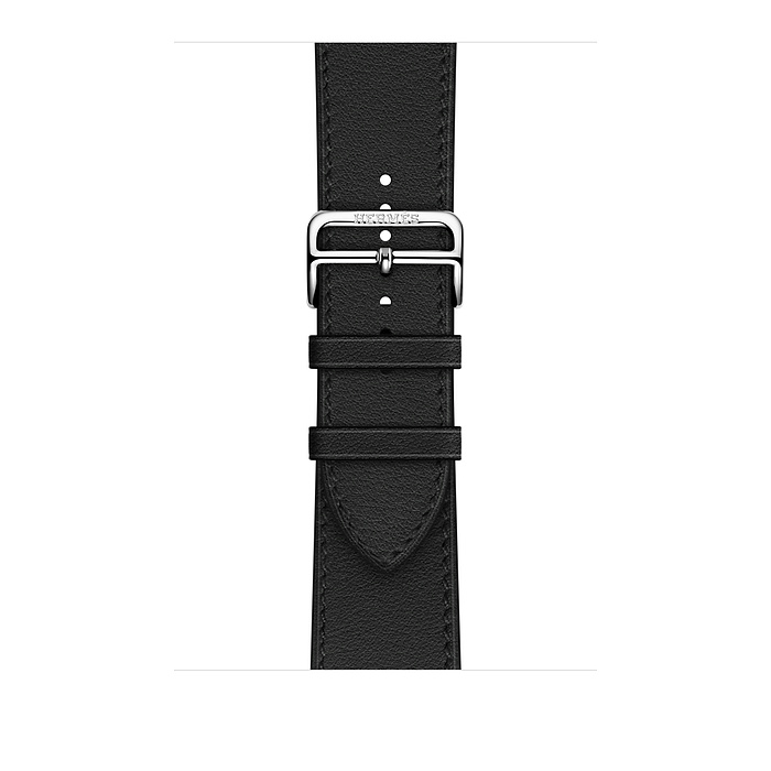 Ремешок Apple Watch Hermès Noir Leather Single tour Deployment Buckle из кожи (для корпуса 44 мм)