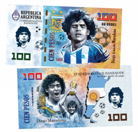 100 PESOS (песо) - Аргентина. Марадона Диего Армандо(Diego Armando Maradona). ПАМЯТНАЯ КУПЮРА