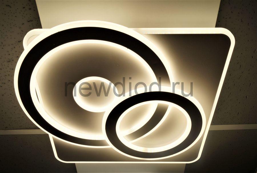 Управляемый светодиодный светильник GEOMETRIA 2204 140Вт-35м² 6/3/4000K пульт 480мм белый Oreol