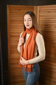 тёплый шарф с кистями 100% шерсть мериноса,  расцветка Жженая сиенна  100% Ultrafine Merino Wool Burnt Sienna  , средняя плотность 5