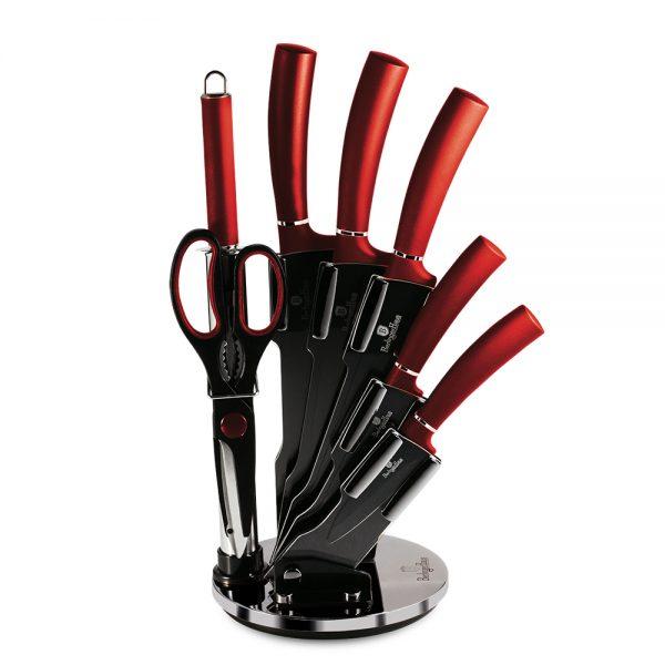 BH-2562 Burgundy Metallic Line Набор ножей на подставке 8 пр.