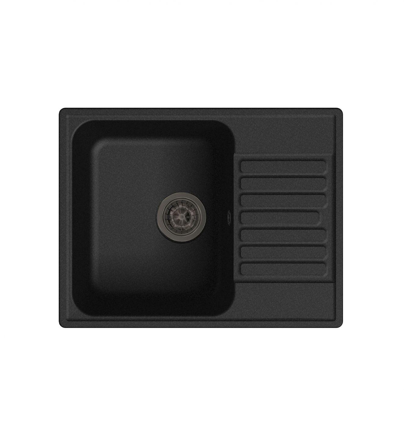 Врезная кухонная мойка LEX Garda 620 Black 62х48см полимер RULE000014
