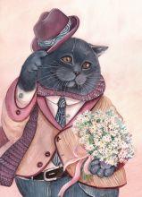 Почтовая открытка Кот романтик