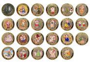 Набор монет 22 ШТУКИ, 10 РУБЛЕЙ 2013 ГОДА - НОВЫЙ ГОД 2019, ЦВЕТНАЯ ЭМАЛЬ + ГРАВИРОВКА