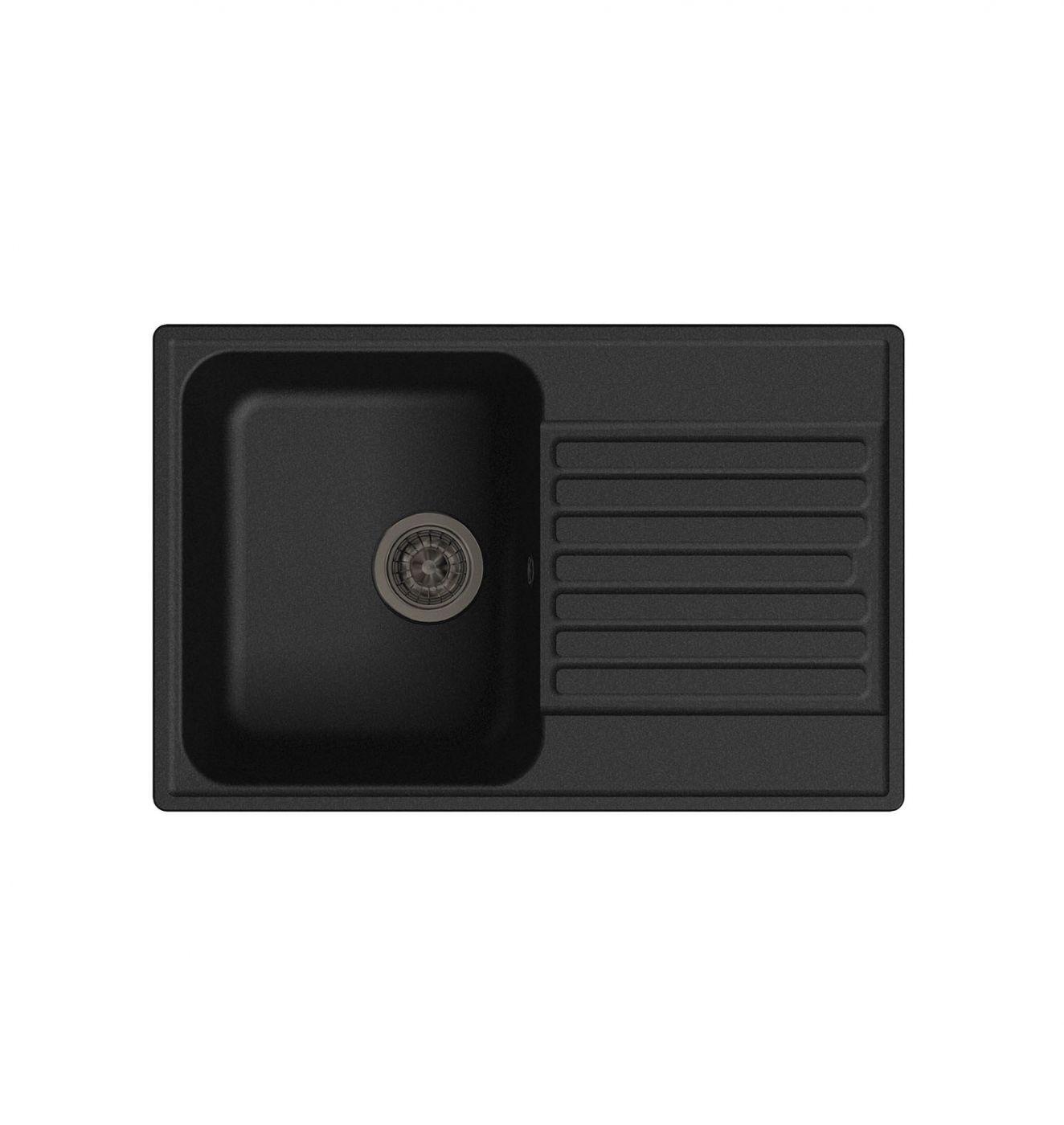 Врезная кухонная мойка LEX Geneva 740 Black  74х48см полимер RULE000020