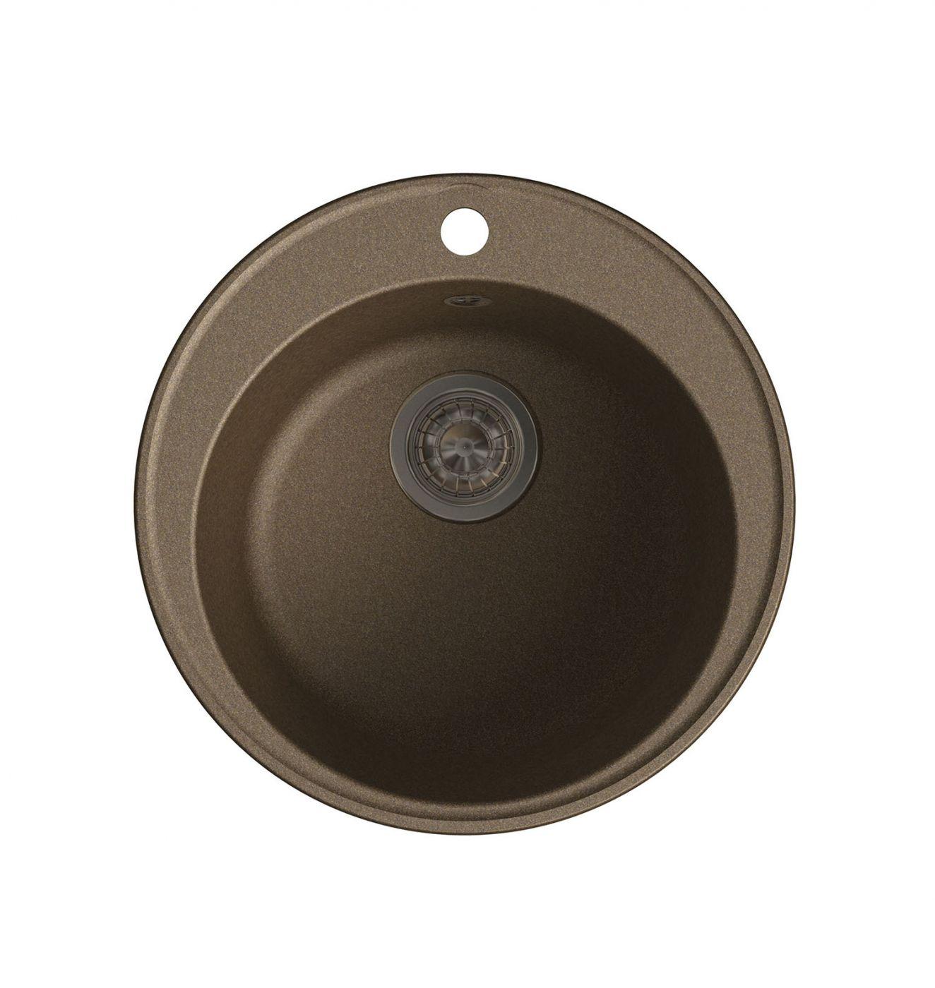 Врезная кухонная мойка LEX Lugano 480 Chocolate  48х48см полимер RULE000003
