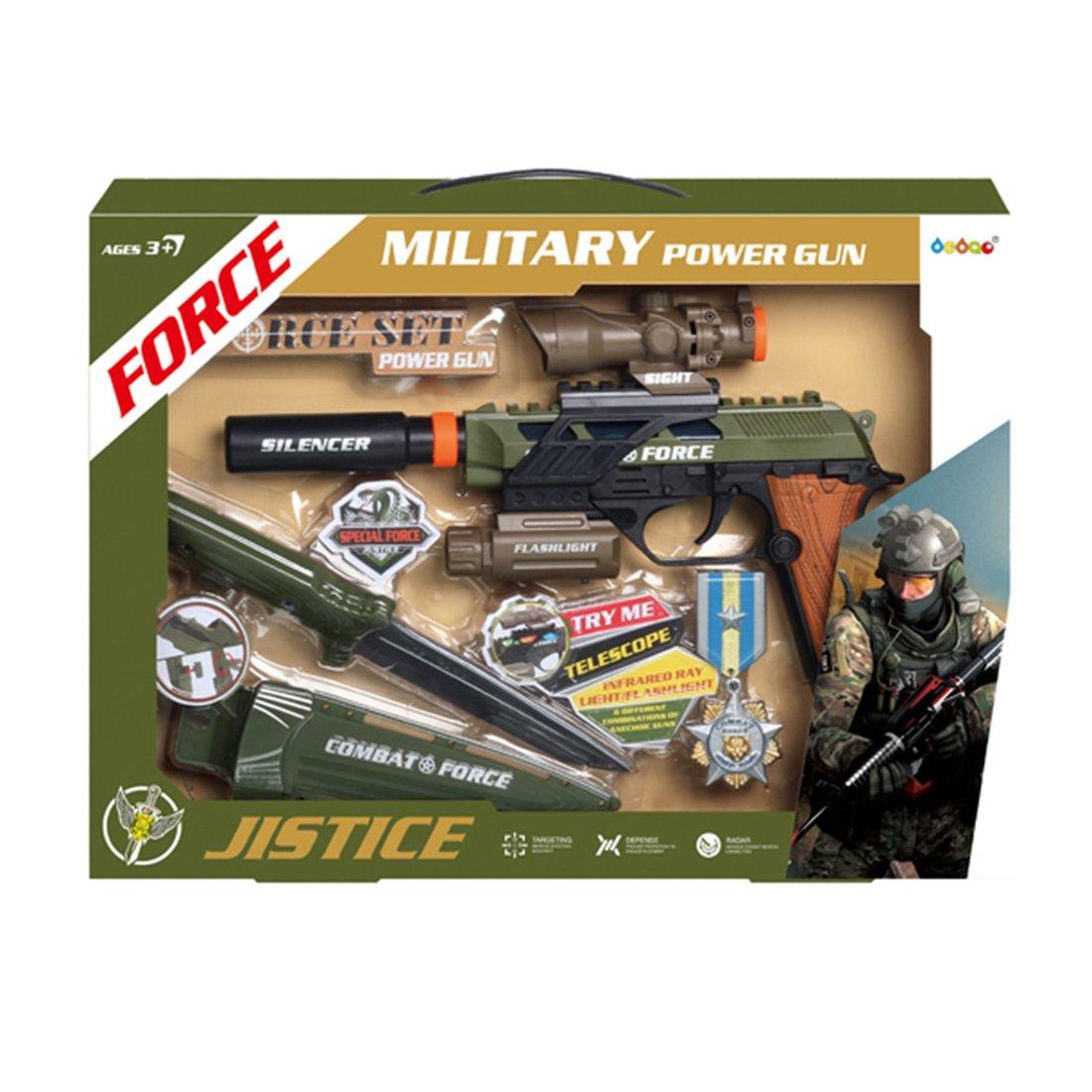 Игр.набор Военный, в комплекте: предметов 4шт., тестовые эл.пит.AG13*3шт., АА*3шт., коробка