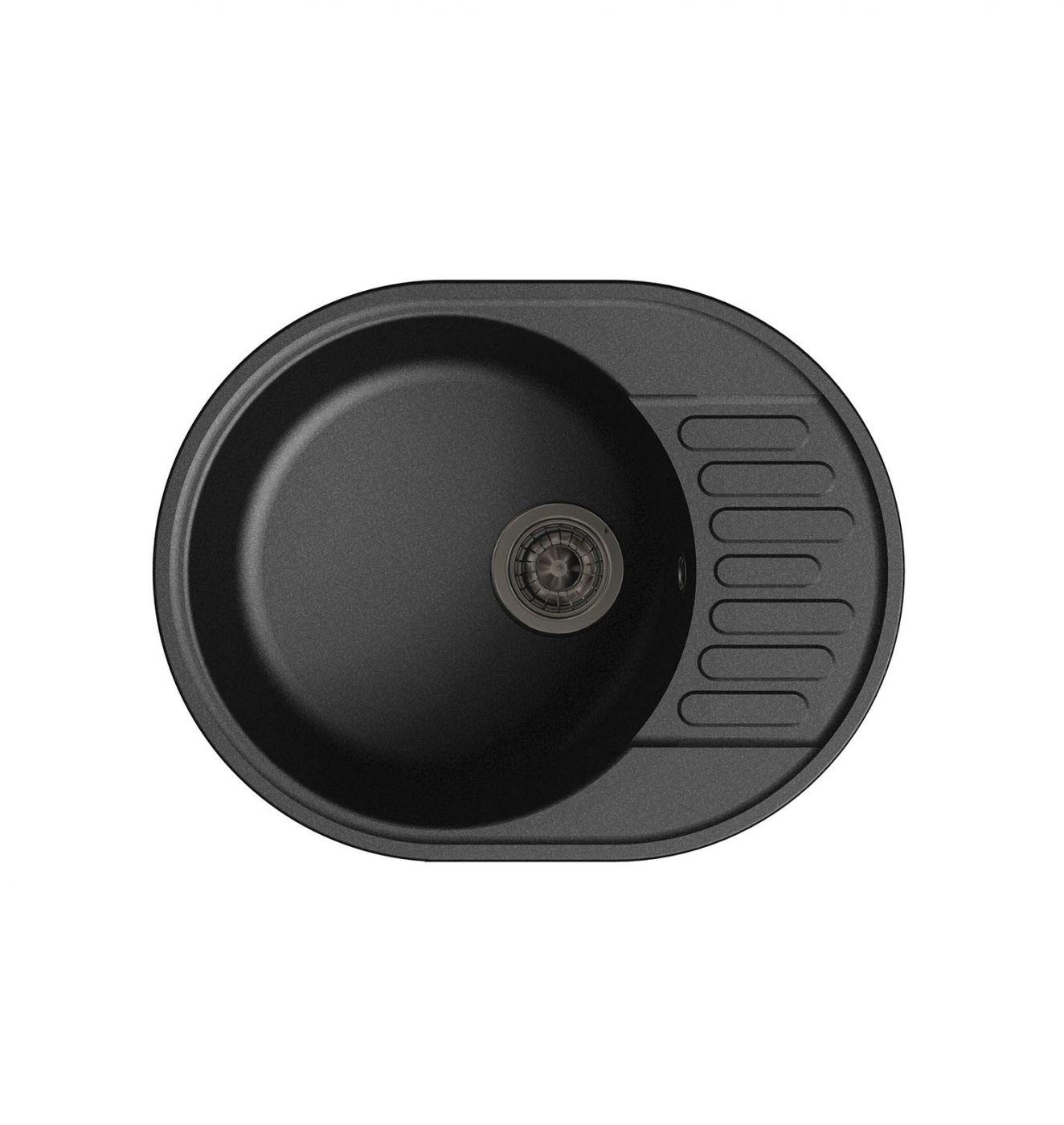 Врезная кухонная мойка LEX Orta 620 Black  62х48см полимер RULE000026