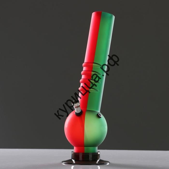 Бонг Piper наклонный, 32 см, рёбра под пальцы, колба-шар, матовый,
