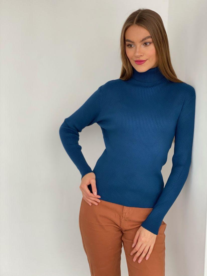 s3368 Тонкий свитер в глубоком синем цвете
