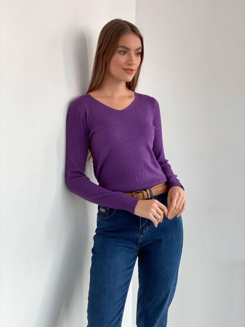 s3369 Пуловер тонкий фиолетовый