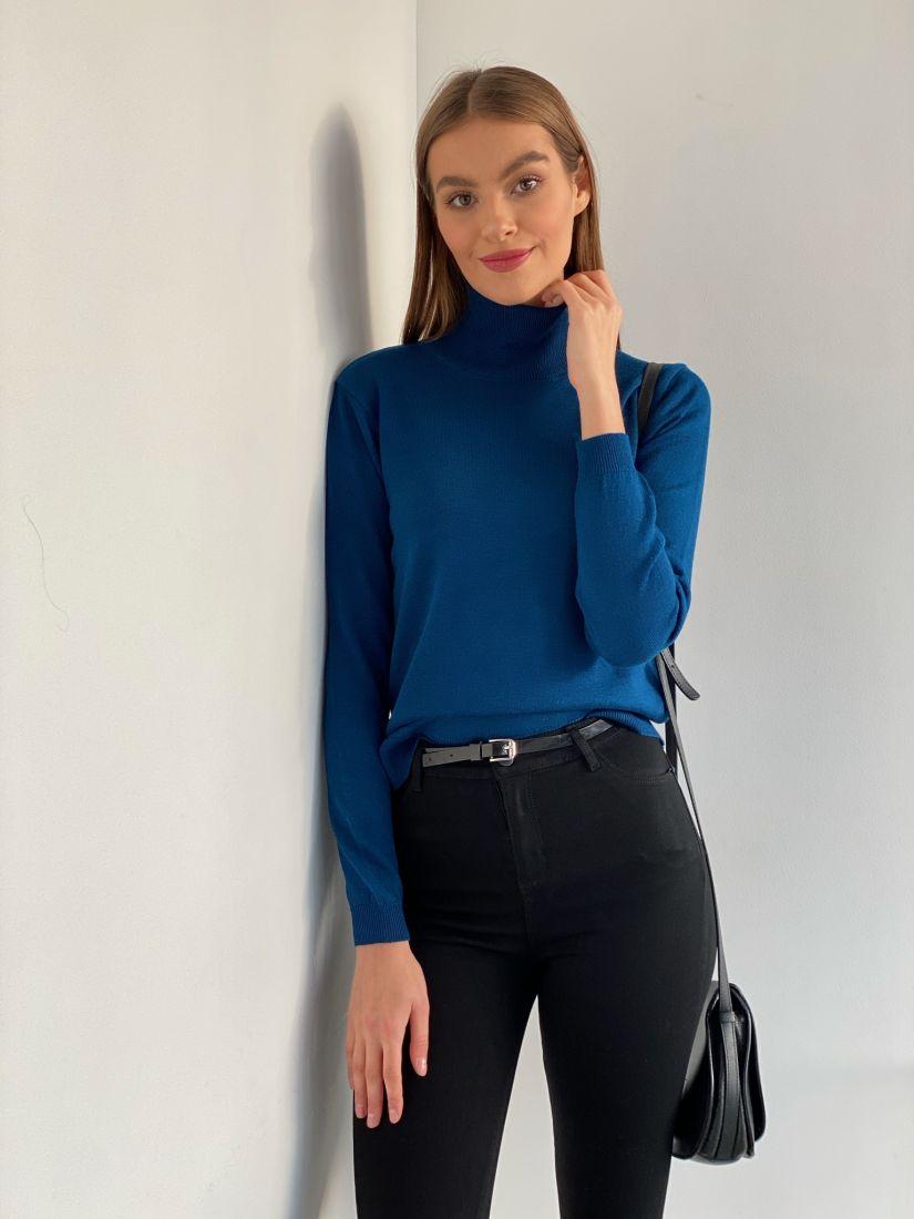 s3373 Свитер тонкий насыщенного синего цвета