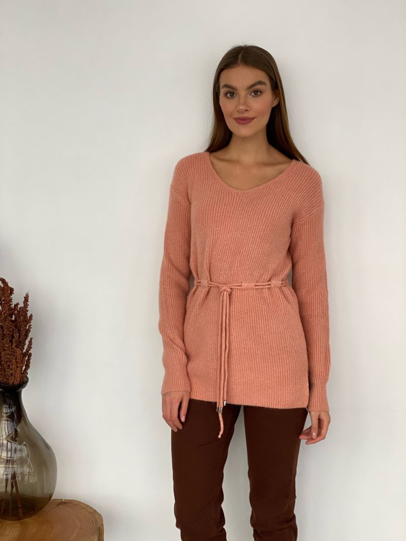 s3375 Удлинённый пуловер на кулиске в тёплом розовом цвете