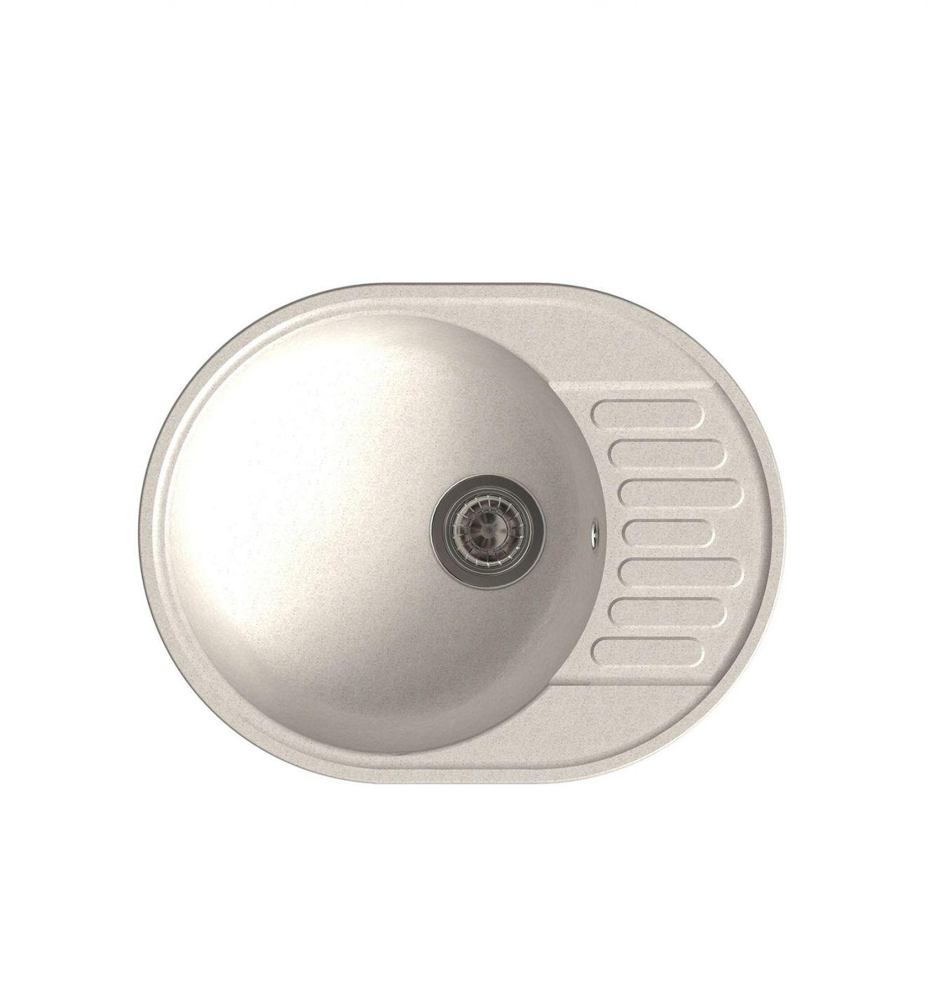 Врезная кухонная мойка LEX Orta 620 White  62х48см полимер RULE000025