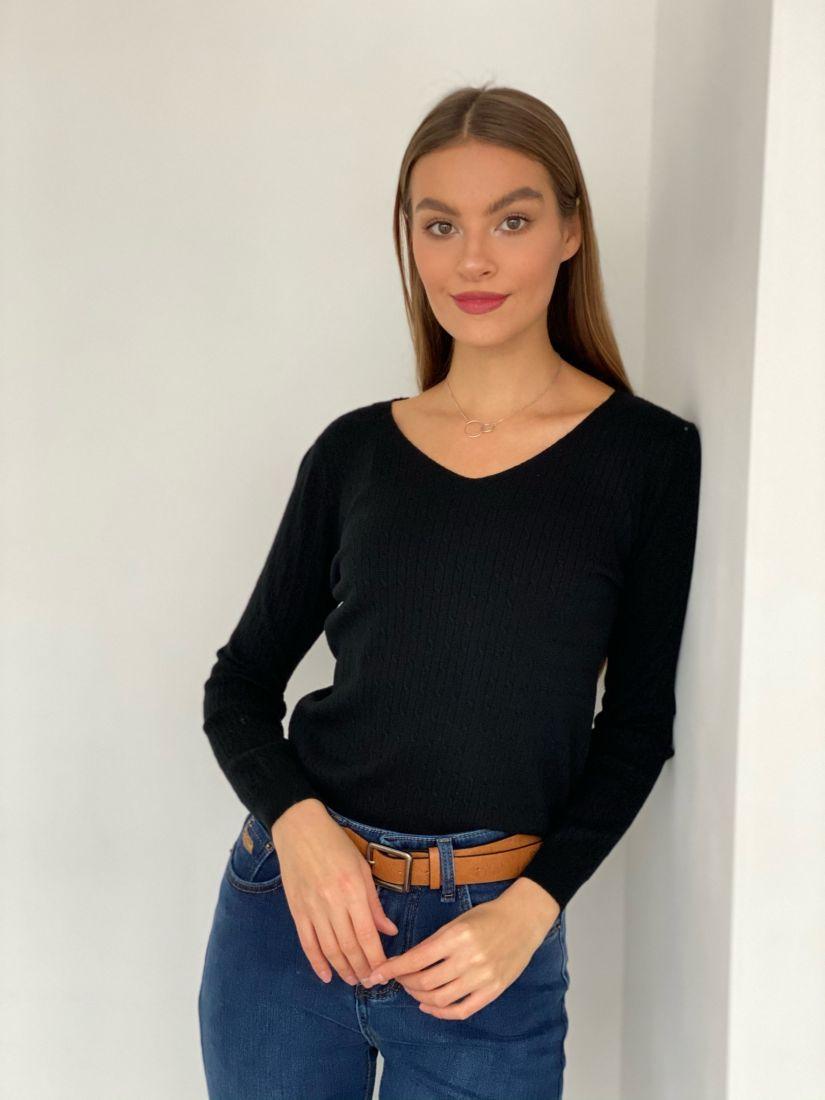 s3393 Пуловер с жаккардовыми косичками чёрный