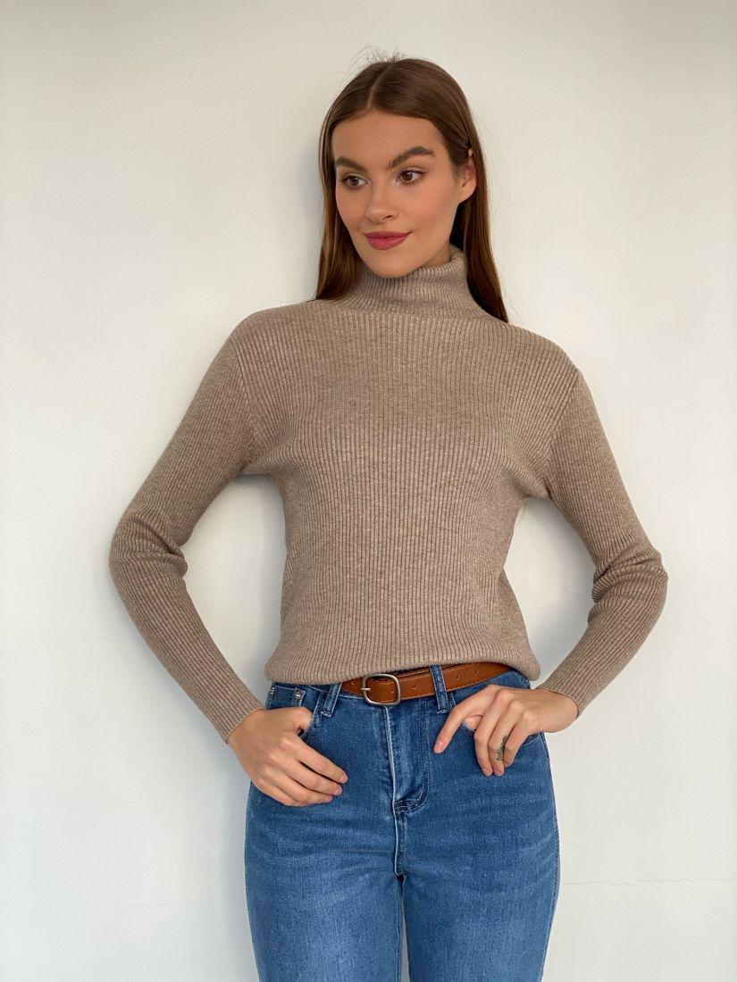 s3405 Тонкий свитер в резинку кофейный