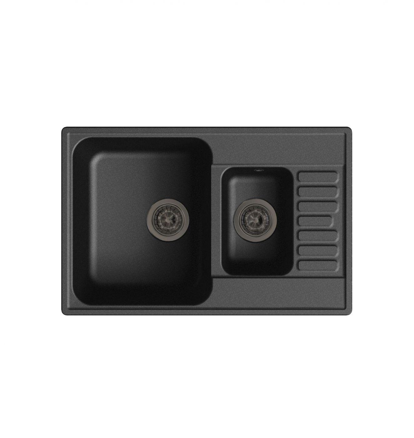 Врезная кухонная мойка LEX St. Moritz 740 Black 74х48см полимер RULE000038