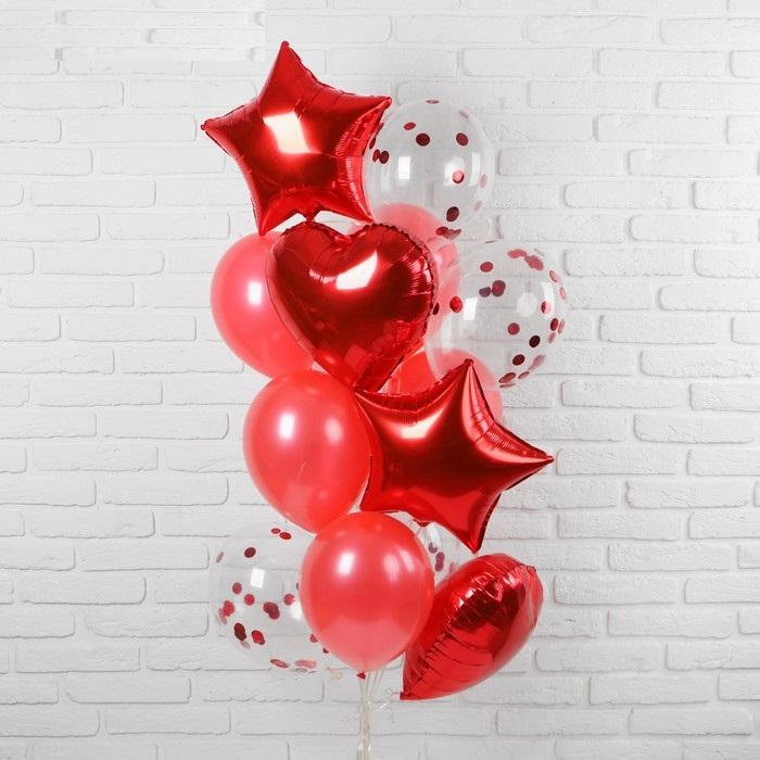 Букет из шаров красный, с сердцами и звёздами
