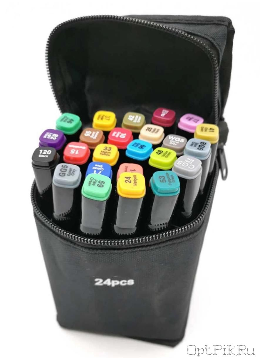 Маркеры для скетчинга 24 цвета в чехле