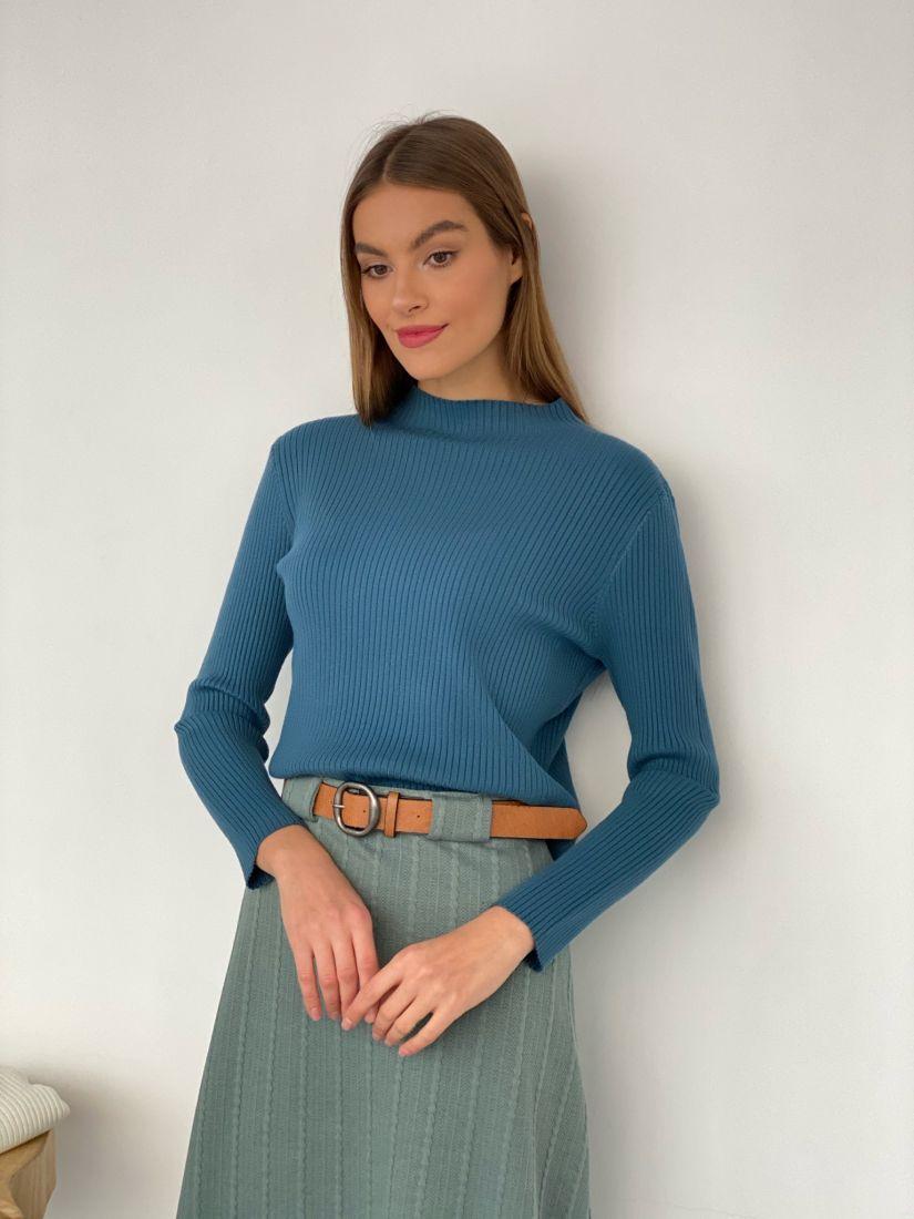s3429 Тонкий свитер серо-голубой