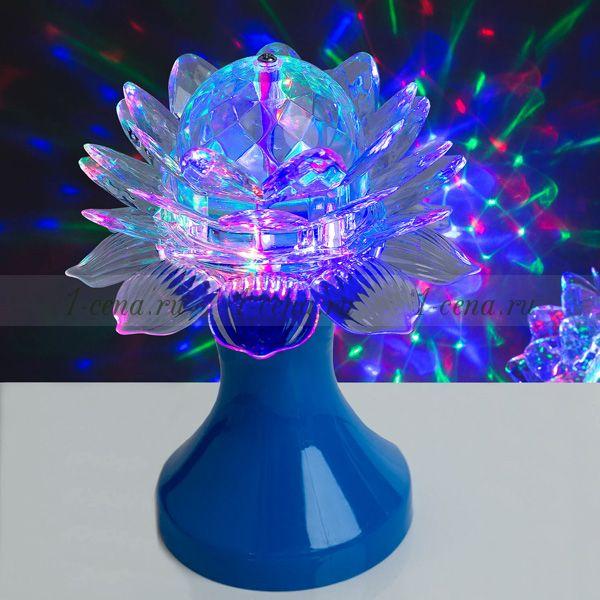 Разноцветная вращающаяся лампа LED ЦВЕТОК на подставке