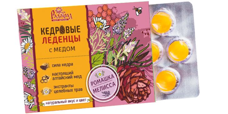 Леденцы медово-кедровые с ромашкой и мелиссой (6 шт., блист.)