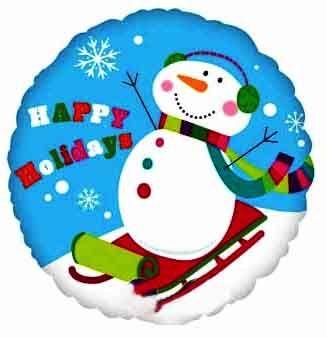 Воздушный шар Снеговик, Елка и Олень (43 см)